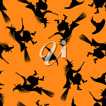Halloween Holiday Seamless Pattern With Witch And Hats Over Orange Background for Creating Halloween Designs.  Vector illustration.