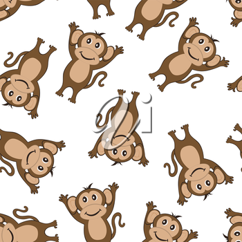 Seamless Pattern From Funny Cartoon Character Monkey With Smile and  Hands Up Paws Over White Background. Hand Drawn in Front  View Elegant Cute Design. Vector illustration.