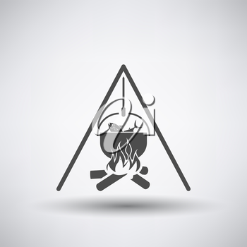 Fishing icon with fire and pot over gray background. Vector illustration.