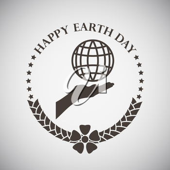 Earth day emblem with palm holding planet. Vector illustration.