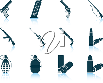 Set of twelve weapon icons with reflections. Vector illustration.