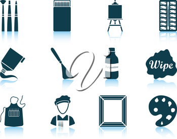 Set of twelve painting icons with reflections. Vector illustration.