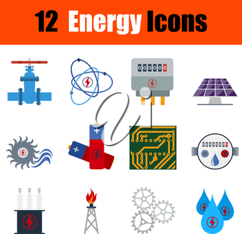 Flat design energy icon set in ui colors. Vector illustration.