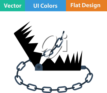 Flat design icon of bear hunting trap in ui colors. Vector illustration.