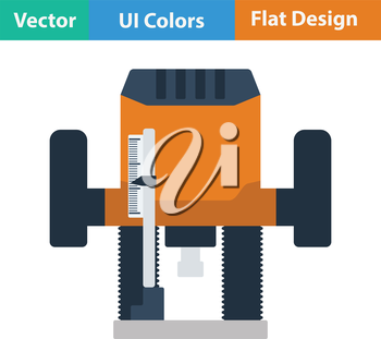 Flat design icon of plunger milling cutter in ui colors. Vector illustration.