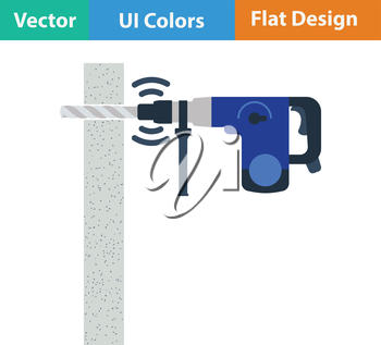 Flat design icon of perforator drilling wall in ui colors. Vector illustration.