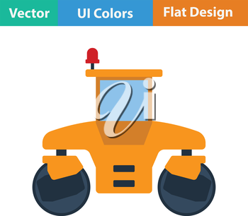 Flat design icon of road roller in ui colors. Vector illustration.