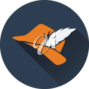 Icon of hunter hat with feather. Flat design. Vector illustration.