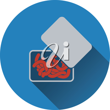 Icon of worm container. Flat design. Vector illustration.