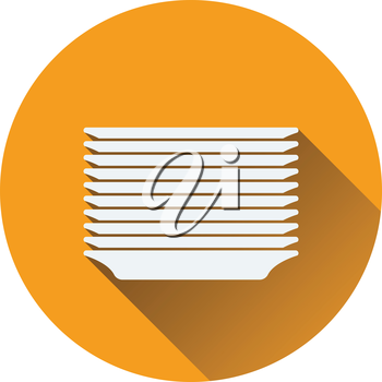 Plate stack icon. Flat design. Vector illustration.