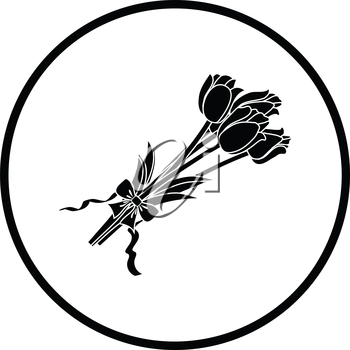 Tulips bouquet icon with tied bow. Thin circle design. Vector illustration.