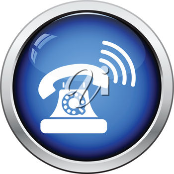 Old telephone icon. Glossy button design. Vector illustration.