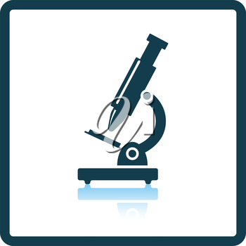 Icon of School microscope. Shadow reflection design. Vector illustration.