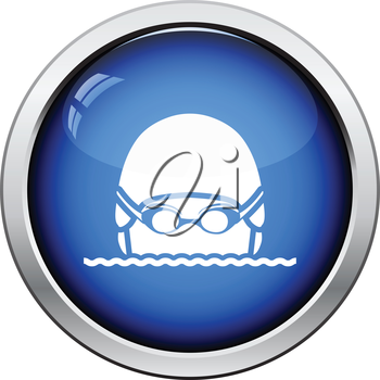 Swimming man head icon. Glossy button design. Vector illustration.
