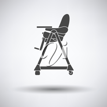 Baby high chair icon on gray background, round shadow. Vector illustration.