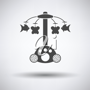 Baby carousel icon on gray background, round shadow. Vector illustration.