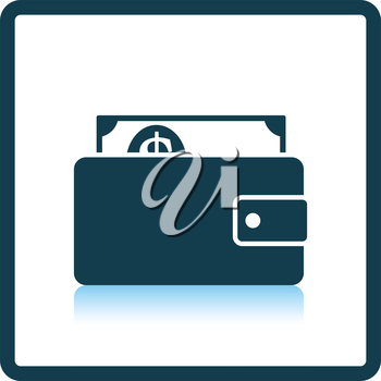 Wallet with cash icon. Shadow reflection design. Vector illustration.