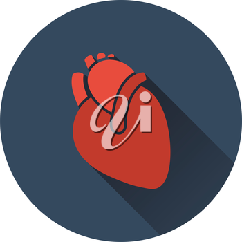Human heart icon. Flat color design. Vector illustration.