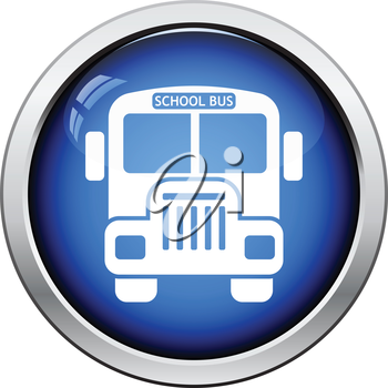 Icon of School bus. Glossy button design. Vector illustration.