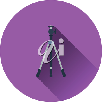 Icon of photo tripod. Flat color design. Vector illustration.