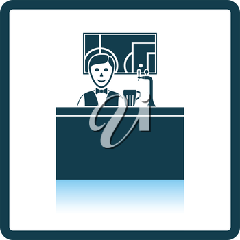 Sport bar stand with barman behind it and football translation on tv icon. Shadow reflection design. Vector illustration.