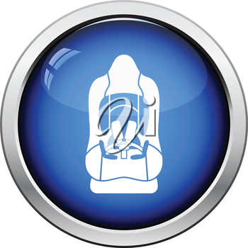 Baby car seat icon. Glossy button design. Vector illustration.