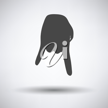 Baseball catcher gesture icon on gray background, round shadow. Vector illustration.