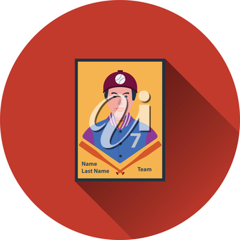 Baseball card icon. Flat color design. Vector illustration.