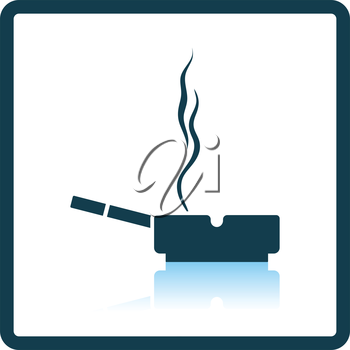 Cigarette in an ashtray icon. Shadow reflection design. Vector illustration.