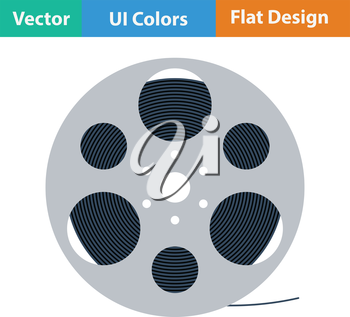 Film reel icon. Flat color design. Vector illustration.