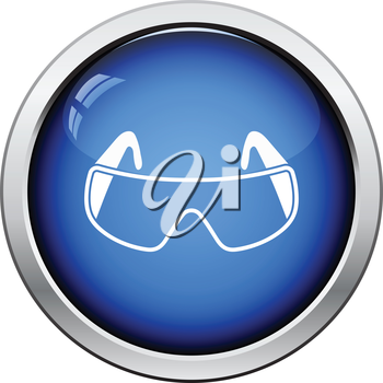 Icon of chemistry protective eyewear. Glossy button design. Vector illustration.