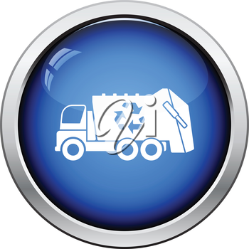 Garbage car recycle icon. Glossy button design. Vector illustration.