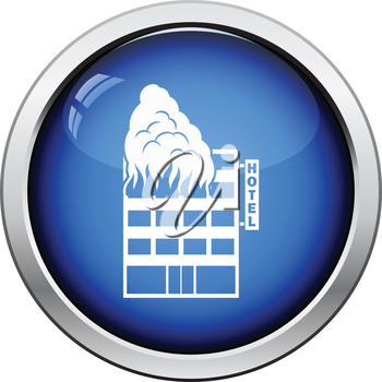 Hotel building in fire icon. Glossy button design. Vector illustration.