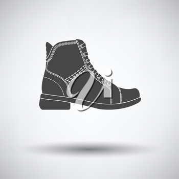 Woman boot icon on gray background with round shadow. Vector illustration.