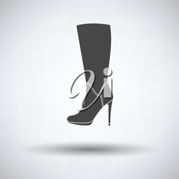Autumn woman high heel boot icon on gray background with round shadow. Vector illustration.