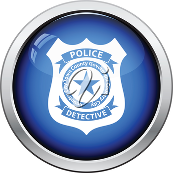 Police badge icon. Glossy button design. Vector illustration.