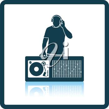 DJ icon. Shadow reflection design. Vector illustration.