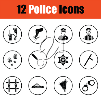 Set of police icons.  Thin circle design. Vector illustration.