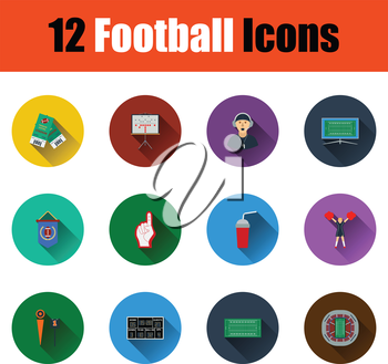 Flat design American football icon set in ui colors. Vector illustration.