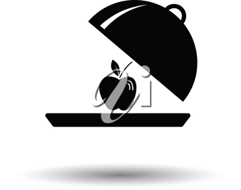 Apple inside cloche icon. White background with shadow design. Vector illustration.