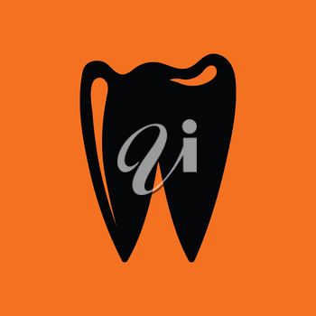 Tooth icon. Orange background with black. Vector illustration.