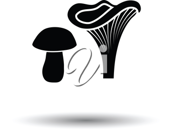 Mushroom  icon. White background with shadow design. Vector illustration.