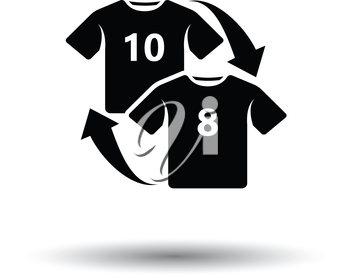 Soccer replace icon. White background with shadow design. Vector illustration.