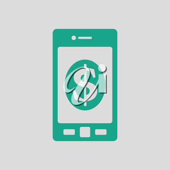 Smartphone with dollar sign icon. Gray background with green. Vector illustration.