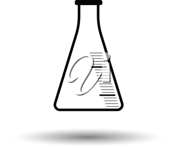 Icon of chemistry cone flask. White background with shadow design. Vector illustration.