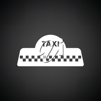 Taxi roof icon. Black background with white. Vector illustration.