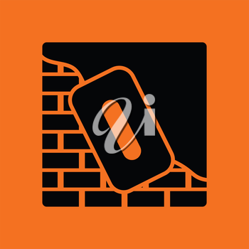 Icon of plastered brick wall . Orange background with black. Vector illustration.