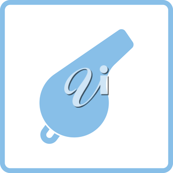 Whistle icon. Blue frame design. Vector illustration.
