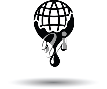 Planet flowing down water icon. White background with shadow design. Vector illustration.