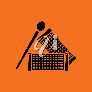 Hair curlers icon. Orange background with black. Vector illustration.